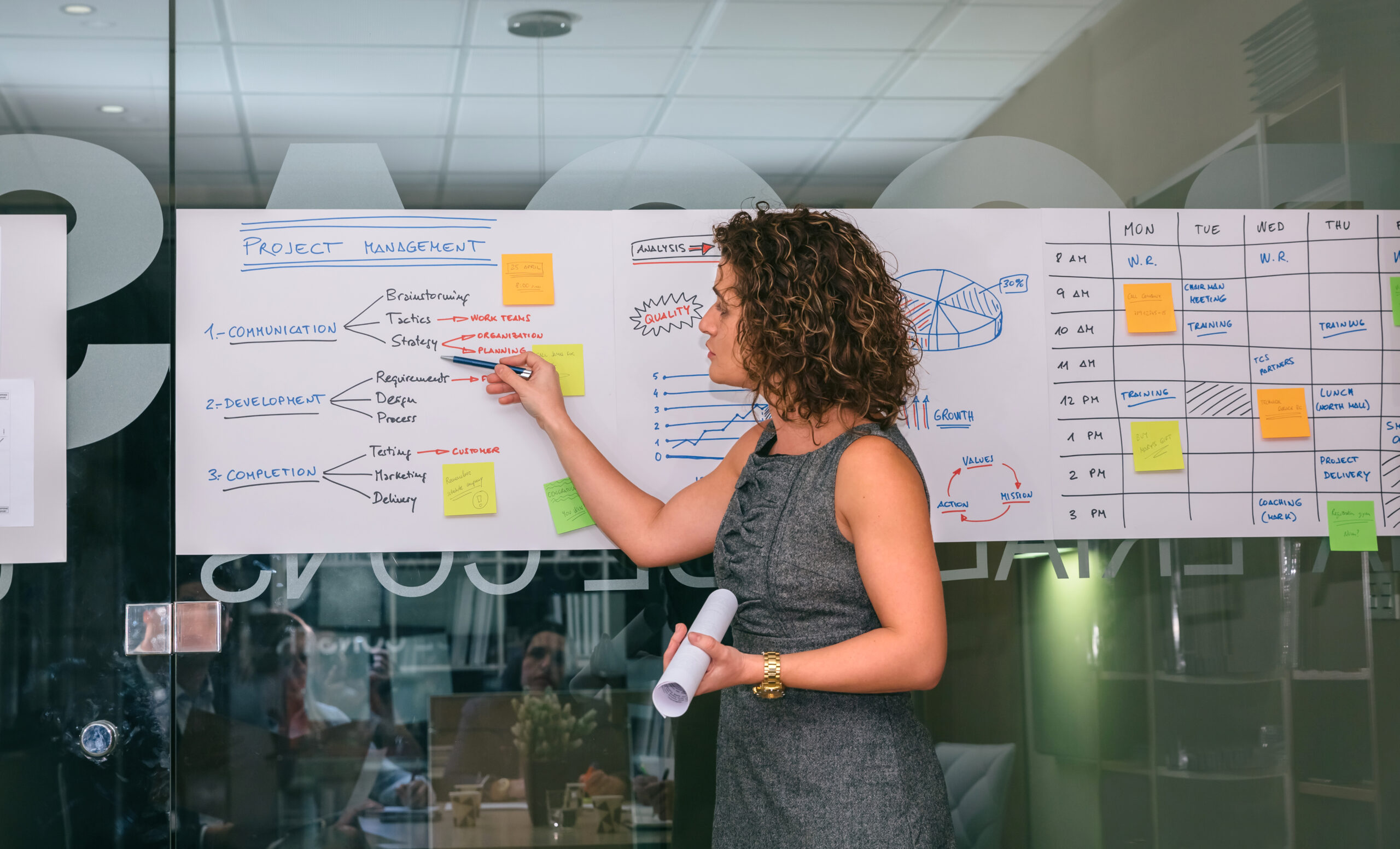 Portrait of female coach showing project management studies on paper over glass wall in headquarters